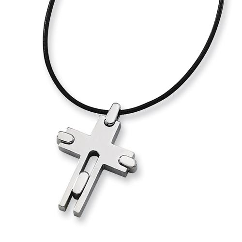 1 1/4in Titanium Cross Necklace