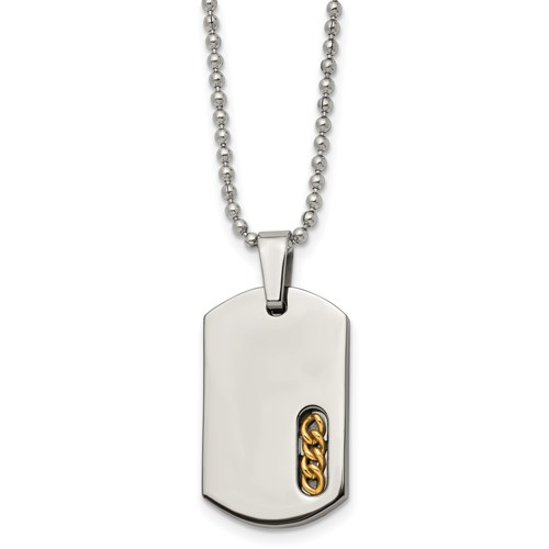 Titanium 24k Gold Plated Necklace with 22in Chain