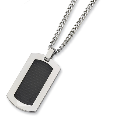 Titanium Carbon Fiber Dog Tag Necklace with 24in Steel Chain