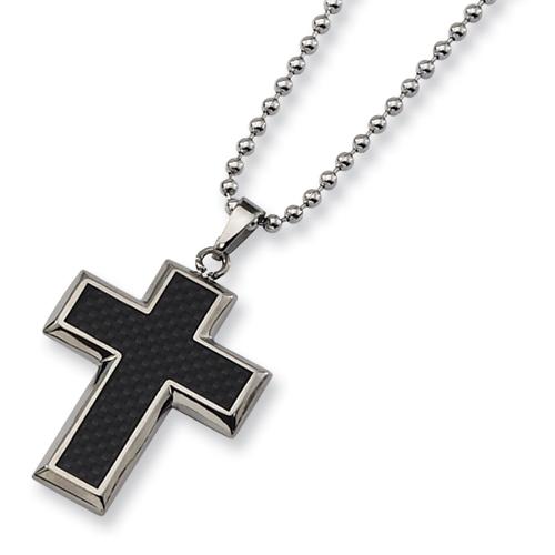 1 1/4in Titanium Carbon Fiber Cross Necklace 22in