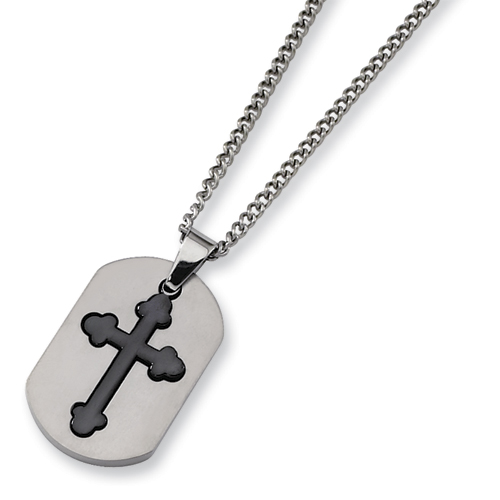 Titanium Black Plated Moveable Cross Necklace
