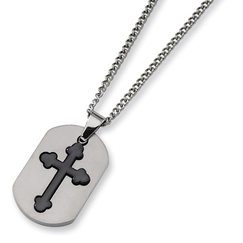 Titanium Black Plated Moveable Cross Necklace