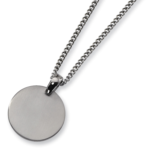 Titanium Brushed Round Pendant on 22in Steel Chain