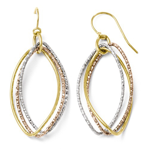 10kt Tri-color Gold 2in Italian Textured Dangle Earrings