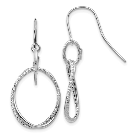 10kt White Gold Italian Textured and Polished Oval Dangle Earrings
