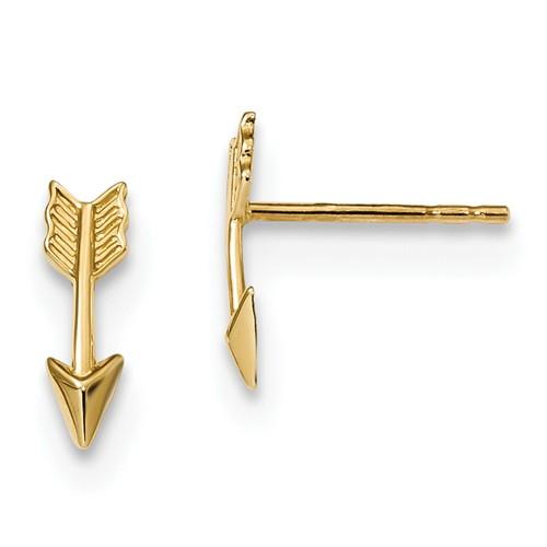 14k Yellow Gold Arrow Earrings