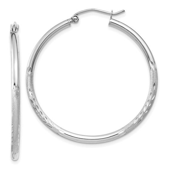 14kt White Gold 1 3/8in Lightweight Classic Hoop Earrings 2mm