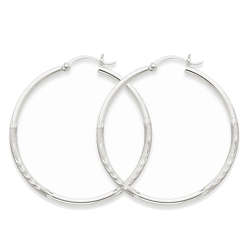 14kt White Gold 1 1/2in Lightweight Classic Hoop Earrings 2mm