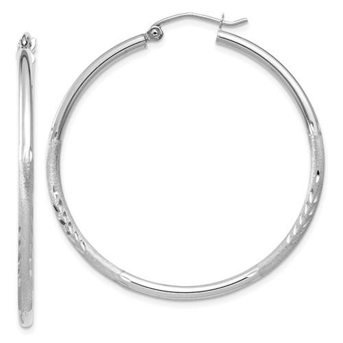 14kt White Gold 1 1/2in Lightweight Classic Hoop Earrings 2mm