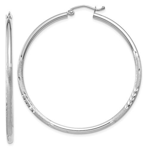 14kt White Gold 1 3/4in Lightweight Classic Hoop Earrings 2mm