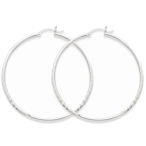 14kt White Gold 2in Lightweight Classic Hoop Earrings 2mm
