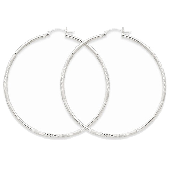 14kt White Gold 2 1/4in Lightweight Classic Hoop Earrings 2mm