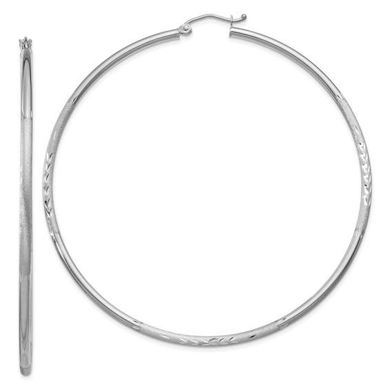 14kt White Gold 2 1/2in Lightweight Classic Hoop Earrings 2mm