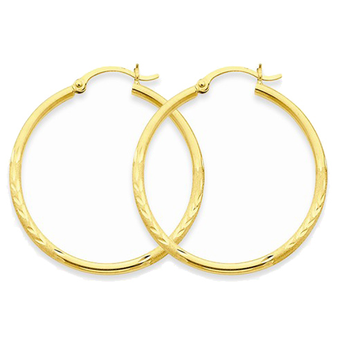 14kt Yellow Gold 1 3/8in Lightweight Classic Hoop Earrings 2mm