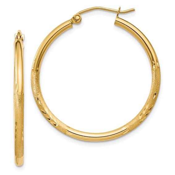 14kt Yellow Gold 1 1/4in Lightweight Classic Hoop Earrings 2mm