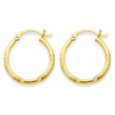 14kt Yellow Gold 3/4in Diamond-cut Satin Hoop Earrings 2mm