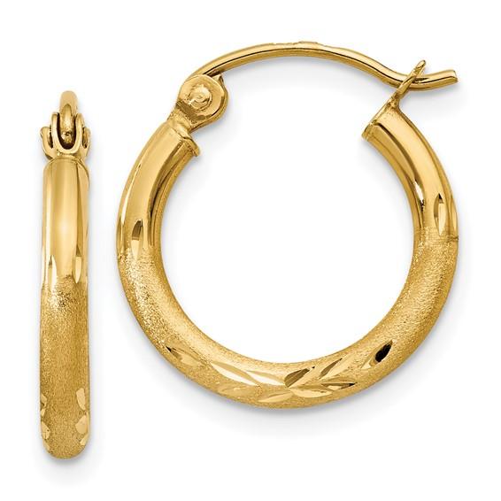 14kt Yellow Gold 5/8in Diamond-cut Satin Hoop Earrings 2mm