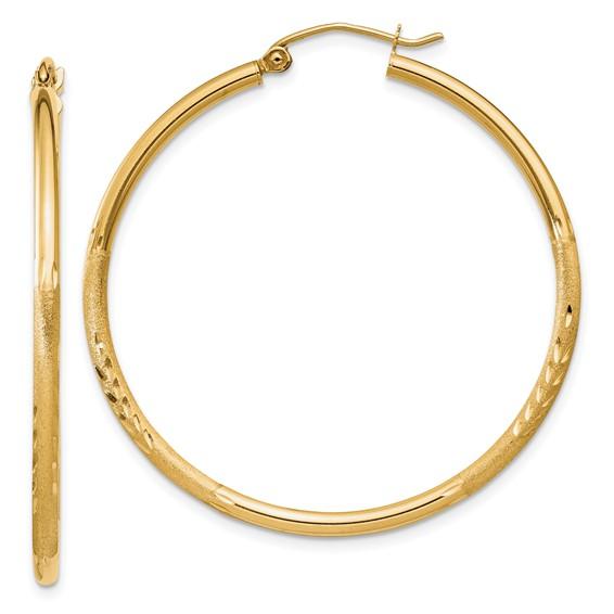 14kt Yellow Gold 1 1/2in Lightweight Classic Hoop Earrings 2mm