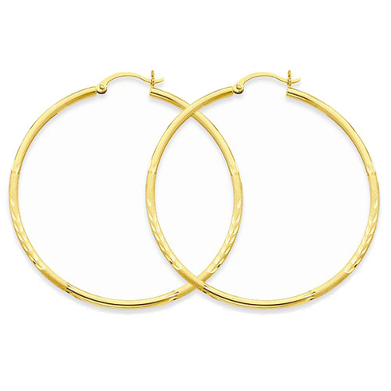 14kt Yellow Gold 2in Lightweight Classic Hoop Earrings 2mm