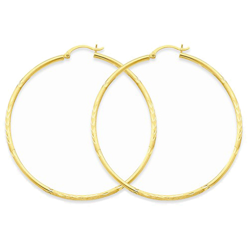 14kt Yellow Gold 2 1/4in Lightweight Classic Hoop Earrings 2mm