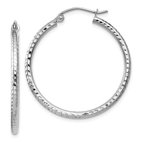 14kt White Gold 1in Diamond-cut Round Hoop Earrings