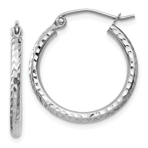 14kt White Gold 3/4in Diamond-cut Hoop Earrings