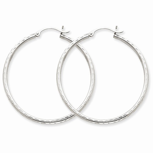 14kt White Gold 1 1/2in Diamond-cut Hoop Earrings