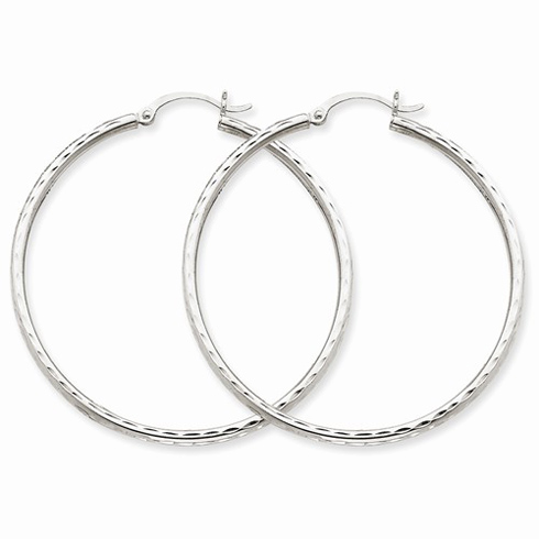 14kt White Gold 1 3/4in Diamond-cut Hoop Earrings