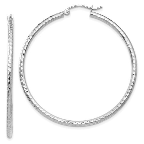 14kt White Gold 1 3/4in Diamond-cut Hoop Earrings