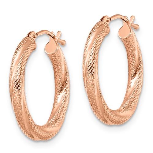 10kt Rose Gold 3/4in Italian Textured Hinged Hoop Earrings