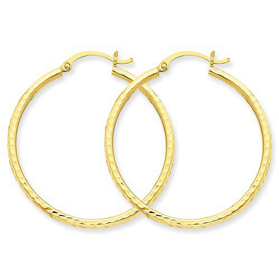 14kt Yellow Gold 1 3/8in Diamond-cut Hoop Earrings