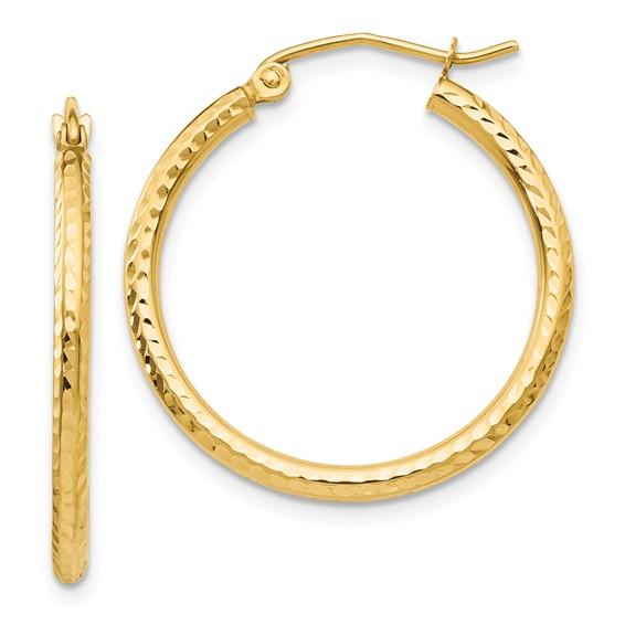 14kt Yellow Gold 1in Diamond-cut Hoop Earrings