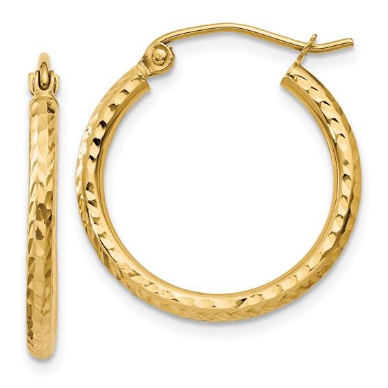 14kt Yellow Gold 3/4in Diamond-cut Hoop Earrings