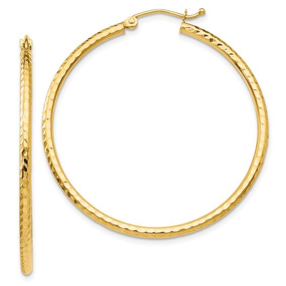 14kt Yellow Gold 1 1/2in Diamond-cut Hoop Earrings