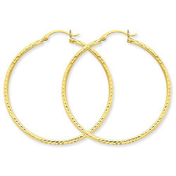 14kt Yellow Gold 1 3/4in Diamond-cut Hoop Earrings