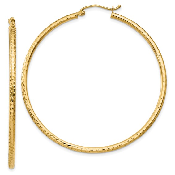 14kt Yellow Gold 2in Diamond-cut Hoop Earrings