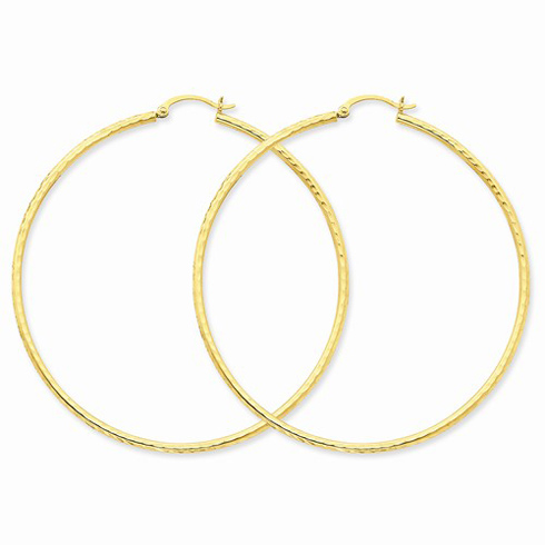 14kt Yellow Gold 2 1/2in Diamond-cut Hoop Earrings