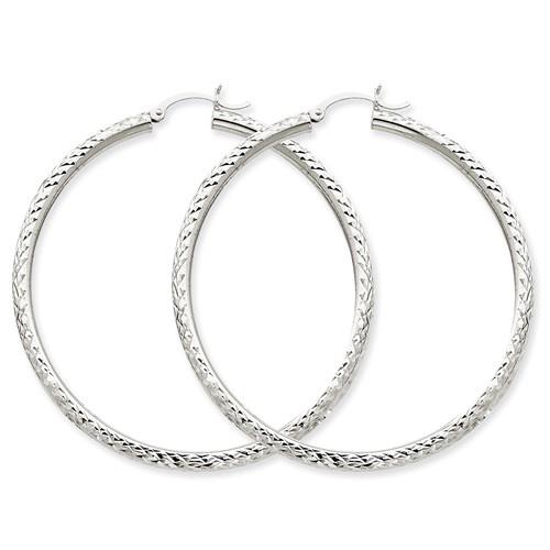 14kt White Gold 2in Hollow Diamond-cut Hoop Earrings 3mm