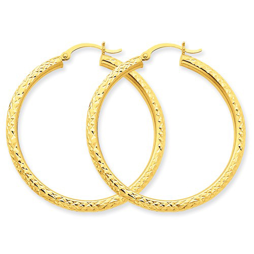 14kt Yellow Gold 1 3/8in Hollow Diamond-cut Hoop Earrings 3mm
