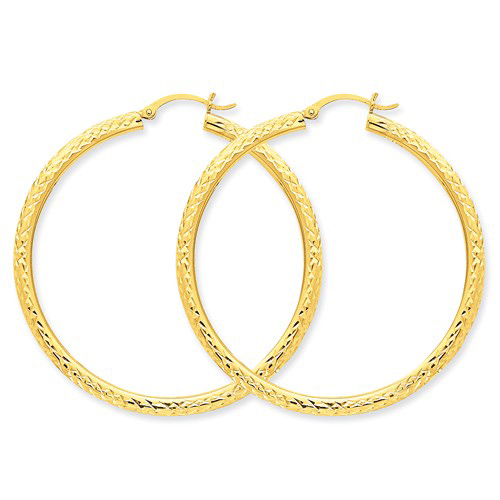 14kt Yellow Gold 2in Hollow Diamond-cut Hoop Earrings 3mm