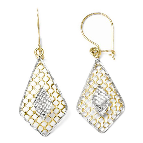 10kt Two-tone Gold Pointed Patterned Dangle Earrings
