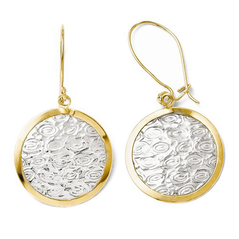 10kt Two-tone Gold Round Rippling Dangle Earrings