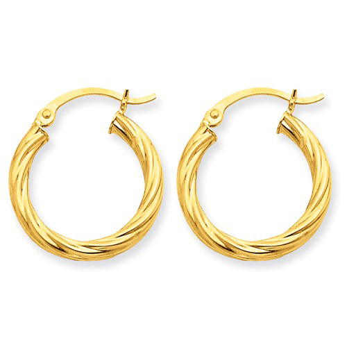 14kt Yellow Gold 3/4in Light Twisted Hoop Earrings 3.25mm