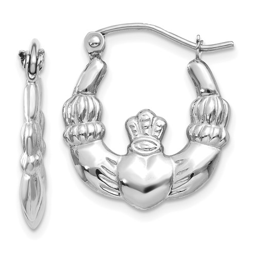 14kt White Gold 5/8in Claddagh Hoop Earrings