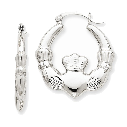 14kt White Gold 1in Claddagh Hoop Earrings