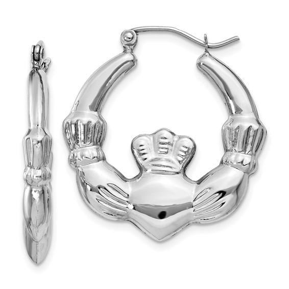 14kt White Gold 1in Claddagh Hoop Earrings