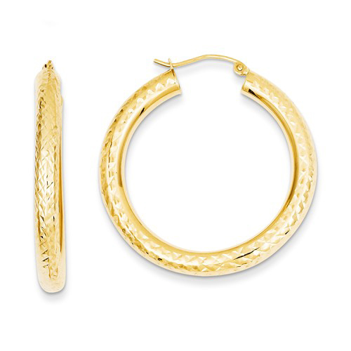 14kt Yellow Gold 1 3/8in Diamond-cut Hoop Earrings 4mm
