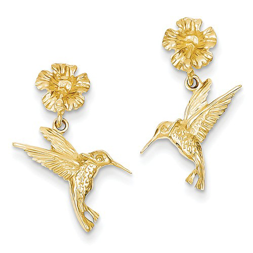 14kt Yellow Gold Hummingbird and Flower Earrings