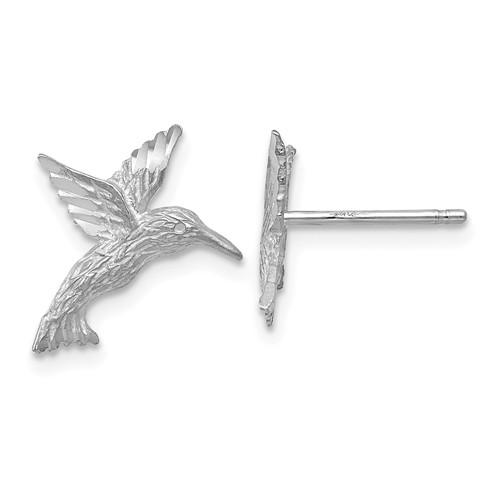 14k White Gold Hummingbird Earrings