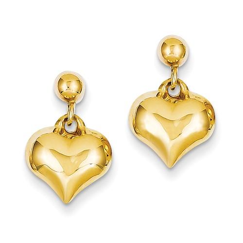 14kt Yellow Gold Puffed Heart Dangle Earrings